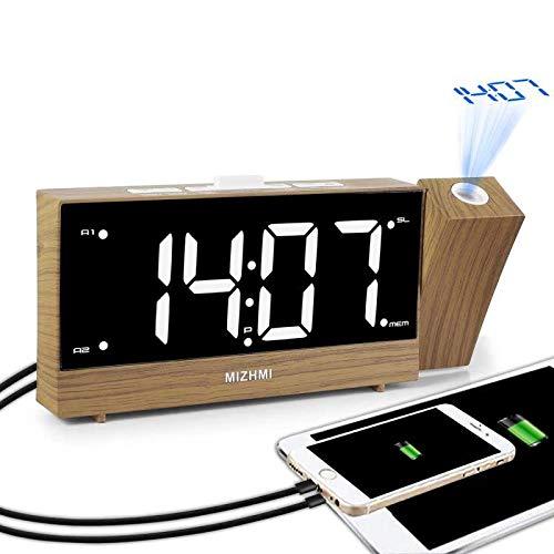 MIZHMI Projection Réveil Digital Réveil FM Radio réveil Bois Loud Réveil projecteur Double Alarme Funk 12/24H Projector Alarm Clock USB pour Large LED Réveil