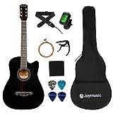 JOYMUSIC 6 String Acoustic Guitar Pack, Right, black (JG-38C BK)
