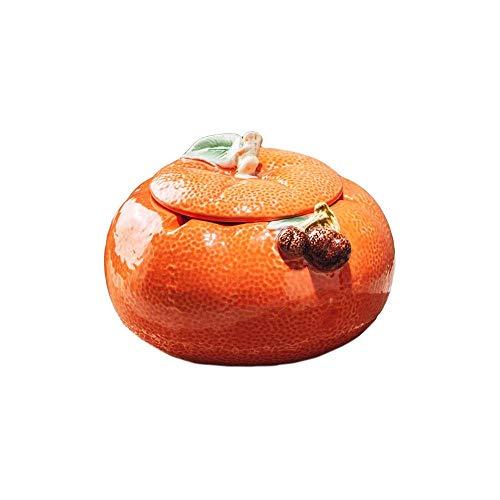 SHUMEISHOUT Cenicero Cerámica Naranja con Tapa Caja de Almacenamiento a Prueba de Viento a Prueba de Viento de Gran Capacidad Balcón Dormitorio Decoración de Escritorio Oficina Sala de Estar Sala de