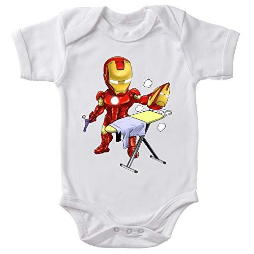Okiwoki Body bébé Manches Courtes Blanc Parodie Iron Man - Tony Stark - Le Super Héros du Quotidien !! (Body bébé de qualité supérieure de Taille 6 Mois - imprimé en France)