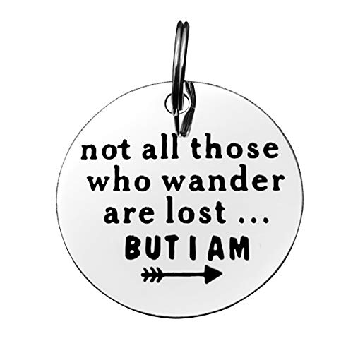 Funny Pet Tag, Dog Collar Tag, Funny Dog Tag, Not All Those Who Wander are Lost But I Am, Stainless Steel Pet Tags, Personalized Puppy Pet ID Tags for Dog Cats Owner or Dog Lover