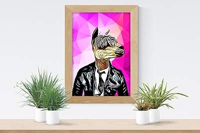 Parksmoonprints A4 geometrische Alpaka-Llama-Lederjacke, Kunstdruck, Abstraktes Scandi-Polygon-Hipster-Tier in Kleidung, nordisch, lustig, modern, cool