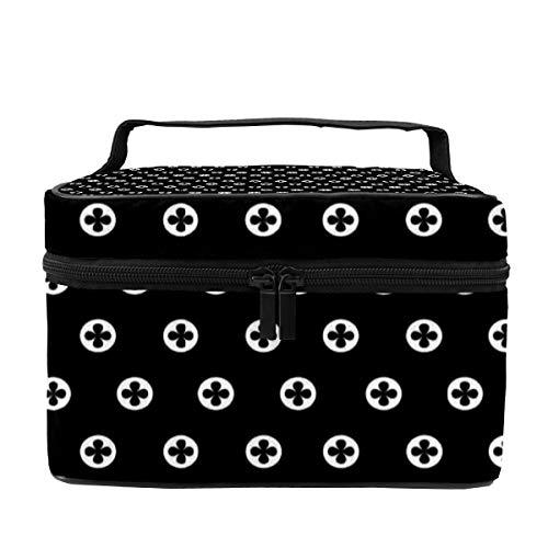 Make-up-Tasche für Damen, Kosmetikkoffer, Organizer, multifunktional, tragbare Aufbewahrungstasche für Pinsel, Toilettenartikel, Schmuck, schwarz-weißes Punktemuster