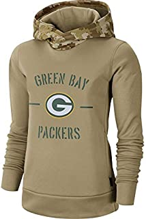 Dunbrooke Apparel Women's Green Bay Packers Khaki 2019 Salute to Service Therma Pullover Hoodie