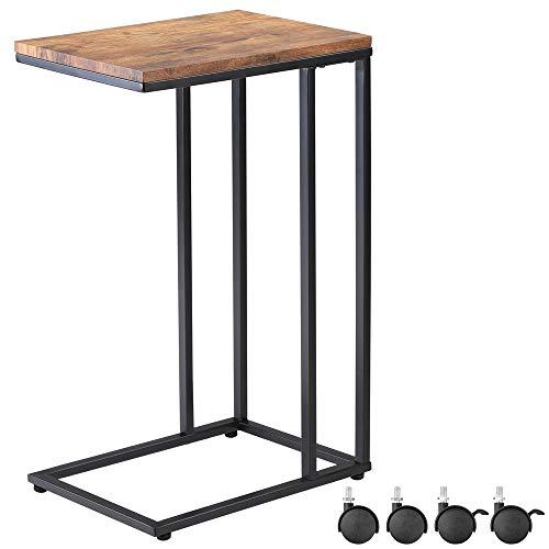 Casaria Beistelltisch Sofatisch mit Rollen Kaffeetisch Wohnzimmer Bettisch Industrie-Design Holz Metall Stabil - Schwarz