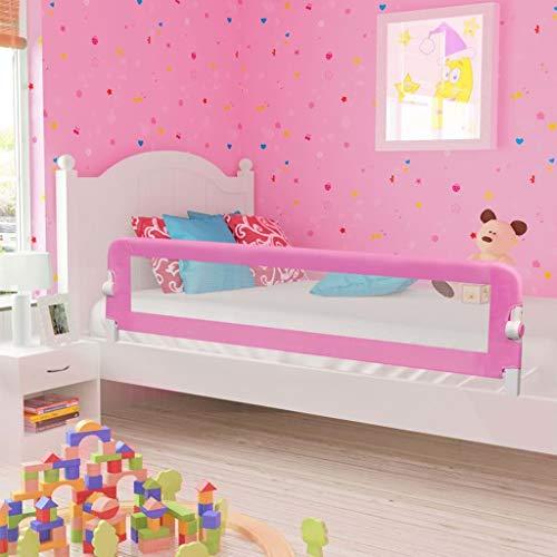 Babybettgitter,Rausfallschutz für das Kinderbett Baby-Gitter-Bett für Kinder ab 18 Monaten bis 5 Jahren, Pink 180x42cm Polyester