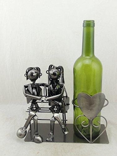 Cepewa wunderschöner,edeler Metall Flaschenhalter Hochzeitspaar,Liebespaar Hochzeitsgeschenk Größe ca. 19,5 cm