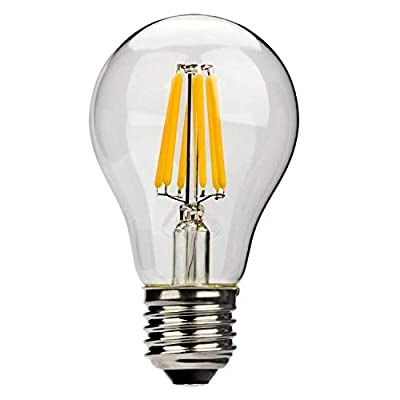 Leadleds A19 LED Filament Light Bulb Edison Style E27 Medium Base Replace 60 Watt Incandescent Bulb, 2700k Warm White Light, Non-Dimmable