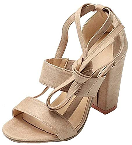 Minetom Damen Riemchensandaletten High Heels Sandaletten Stiletto Party Schuhe Glitzer Elegante Abendschuhe A Beige EU 36