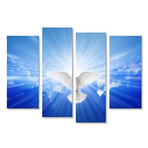 islandburner Bild Bilder auf Leinwand Heiliger Geist kam wie Taube, Heiliger Geist Taube fliegt im blauen Himmel, hell Wandbild Leinwandbild Poster DMG