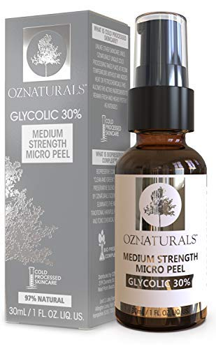 OZNaturals Glycolic Acid Chemical Peel: Glycolic 30% Medium Strength Micro Peel - Alpha Hydroxy Acid Facial Skin Exfoliant Peeling Serum - Anti Aging AHA Exfoliating Chemical Peels for Face - 1 Fl Oz