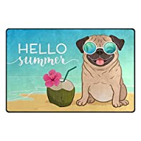 パグ犬サマービーチエリアラグ、リビングルーム用ドアマットベッドルームキッチンバスルーム装飾軽量フォームプリントラグ-80x50CM