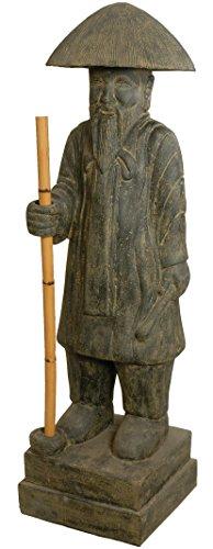 korb.outlet Große Gartenfigur Konfuzius 145cm / Mönch mit Stab Steinguss China/Figur Chinesischer Bauer Wanderer/Steinfigur Statue XL Lavastein für Haus und Garten