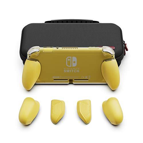 Skull & Co. GripCase Lite Bundle: Eine Bequeme Schutzhülle mit austauschbaren Griffen [passend für alle Handgrößen] für Nintendo Switch Lite - Gelb