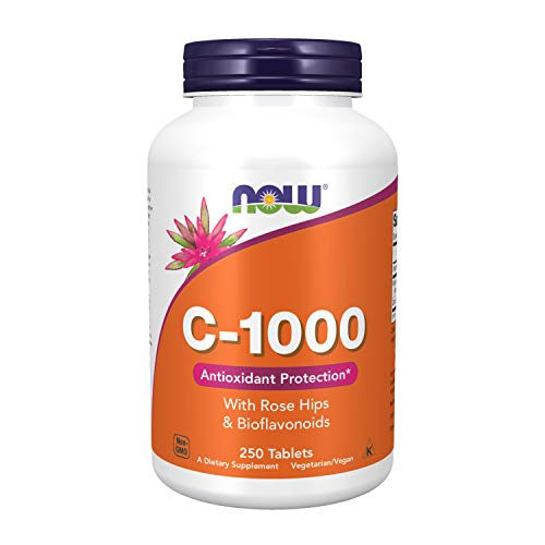 Vitamina C 1000 C/Rose Hips e Bioflavonóides (250 TABS) Now Foods