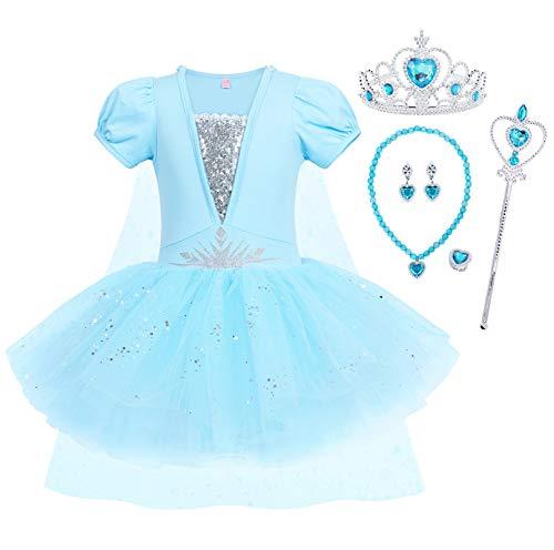 WonderBabe Vestido de tutu estilo tutu de manga curta para menina criança vestido de princesa Céu-140 (P054-Azul)
