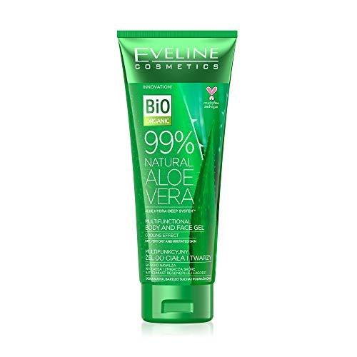 Eveline Cosmetics Multifunktionales Körper und Gesicht Aloe Vera Gel 99% | 250 ml | Trockene und gereizte Haut | Regenerierende, beruhigende und kühlende Eigenschaften | Tägliche Pflege
