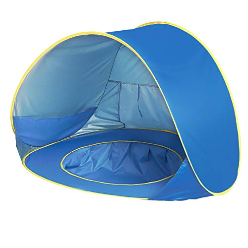 Pop Up Baby Beach Tent,UPF 50+ Beach Camping Tent Anti-UV for 2-3 Kids Foldable Waterproof tent Portable Sun Shelter Indoor and Outdoor Beach Picnic Use (125X85X70cm)