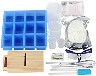 Soap Making Tools Set DIY Handmade Professional Cold Process Soap Making 12-Cavity Loaf Bar Silicone Mold, Planer Wood Box, Soap Base, Spatulas and More