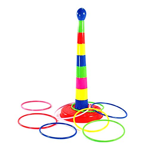 Ring Toss Juego Plastic Rainbow Stacking Toy Desarrollo de inteligencia Parent-Child Sports Game Diversión Family Games para niños y adultos Juguetes educativos (1set)