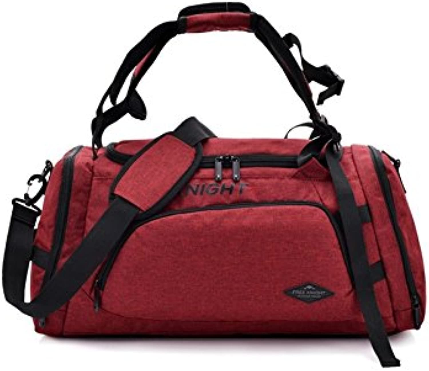 Hiking Waterproof Polyester Large Capacity Gym Bag Sports Holdall Travel Weekender Duffel Bag(Red) for Outdoor Traveling