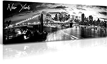 New York Skyline Wall Art - Brooklyn Bridge Night View - Black and White Nyc City Pictures Scape Artwork Painting Decoration for Bedroom or Office Ready to Hang 13.8 x47.3 -New York1