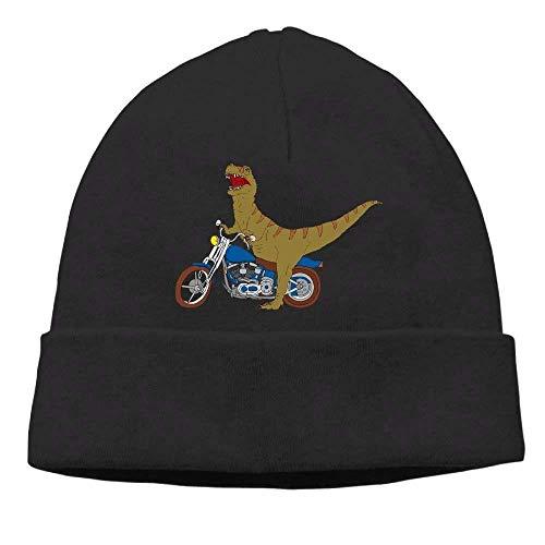 Lawenp Big T Rex On Motobike Sombreros de Punto para Hombres y Mujeres Sombrero de Invierno cálido para Uso Diario Blanco