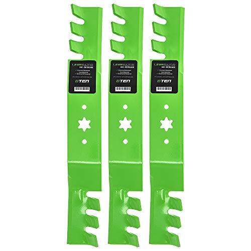 8TEN LawnRAZOR Toothed Mulching Blade 942-04053C for MTD 50 inch Deck Cub Cadet RZT 50 Troy Bilt 942-04053X 3 Pack