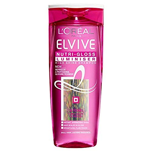 6er Pack - L'Oréal Elvive Shampoo - Nutri Gloss Luminiser - für langes und stumpfes Haar - 250 ml