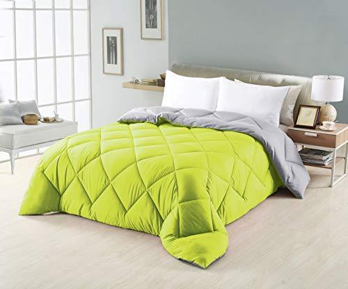 NH NOVOTEXTIL HOGAR Edredón nórdico de 350 g Reversible (Bicolor) Varias Medidas y Colores (Cama 135-220x240 cm, Verde/Gris)