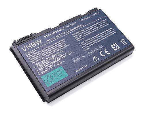 vhbw Akku passend für Acer Extensa 5000, 5120, 5210, 5220, 5230, 5230E, 5420 Laptop Notebook - (Li-Ion, 4400mAh, 14.8V, 65.12Wh, schwarz)