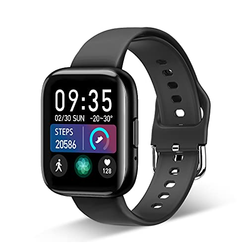 Smartwatch, Fitness Tracker für 1.55 Zoll Touch-Farbdisplay Fitness Armband Wasserdicht IP67,Smart Watch mit Schrittzähler Schlafmonitor 8 Sportmodi Sportuhr Smart Watch für Android und iOS (schwarz)