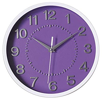 Smarten Arts Decor Silent Wall Clock 10 Inches 3D Numbers Non-ticking Decorative Wall Clock Battery Operated Round Easy to Read For School/Home/Office/Hotel