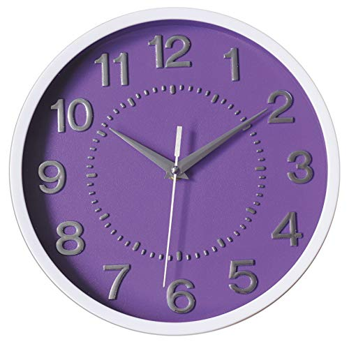Decor Silent Wall Clock 10' Purple Dial 3D Numbers Non-ticking Decorative Wall Clock Battery Operated Round Easy to Read For School/Home/Office/Hotel