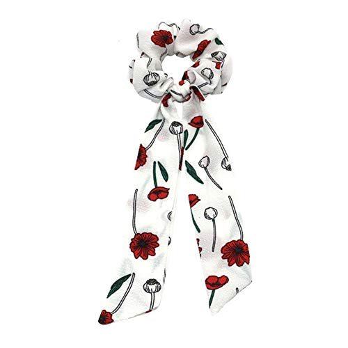 Qinlee – Gomas para el pelo con flores, corbatas para el pelo, cinta de goma, accesorios para el pelo, gasa vintage, cinta para la frente, cabeza elástica para cola de caballo, Blanco