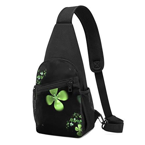 Mochila de la honda de la hierba del fondo negro bolso de hombro Crossbody viaje senderismo pecho bolsa Daypack, Black, Talla única,