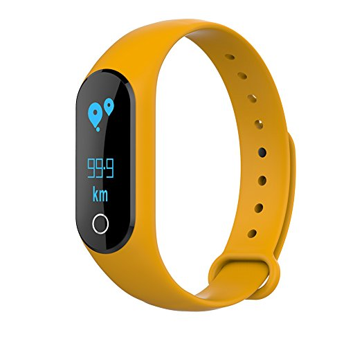 "Diamondo Bluetooth Smart Band Wristband Bracelet 0.86"" OLED Pedometer-Time Step, Diistance and Calorie Display (Yellow)"