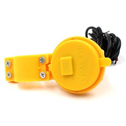 HLH-Motorcycle Accessories Motorrad USB-Ladegerät Buchse Steckdose 1.5A wasserdichtes Handy-Ladegerät Netzteil für 12 V / 24 V Motorrad Multi-Color optional Sinnvoll (Color : Yellow)