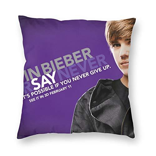 Weretlyop Justin Bieber - Fundas de almohada cuadradas para sofá, coche, color blanco, 24 pulgadas x 24