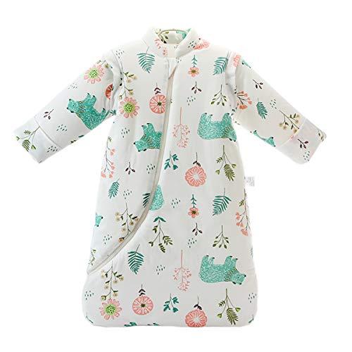 Baby Winter schlafsack Kinder schlafsack 3.5 Tog Schlafsaecke aus Bio Baumwolle Verschiedene Groessen von Geburt bis 4 Jahre alt (L:Höhe 90cm-105cm/24-48Monate, greenbear)