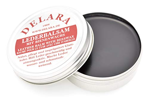 DELARA Lederbalsam mit hochwertigem Bienenwachs, Lederpflege, die das Leder weich, geschmeidig und atmungsaktiv Macht, 75 ml Dose, Farbe: Schwarz – Made in Germany