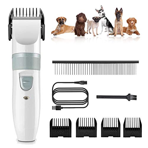 Dog Clippers Low Noise Cat Grooming Shaver Cordless Pet Hair Trimmer Oplaadbare Grasmaaier Professional Animal snijkop Rozor met 4 Comb + Pro Accessoires,White