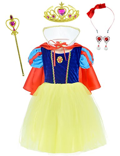 Princess Snow White Costume For Girls Dress Up With Accessories 8-9 Years(140cm)