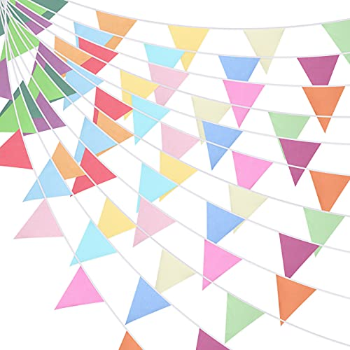 Pancarta de Banderín de Color Puro de 20 Metros Bandera Triangular de 60 Piezas Guirnalda de Banderines de 15 Colores Banderín Colgante Retro para Boda Cumpleaños Fiesta (Multicolor)