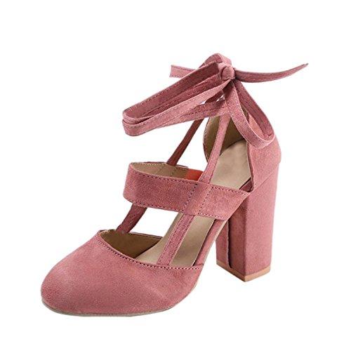 Minetom Eleganti Donna Moda Sandali da Sposa Tacco a Spillo Tacchi Alti Sottili Block Partito Scarpe da Sposa Aperte con Cordoncino Pink EU 42