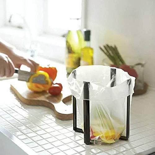 AIPINQI Küchentischständer-Halter, Multifunktionale Trockenregale für Zuhause Küche, Mini Faltregal für Plastik-Müllbeutel, Flaschen, Tassen, Turm, Schwarz