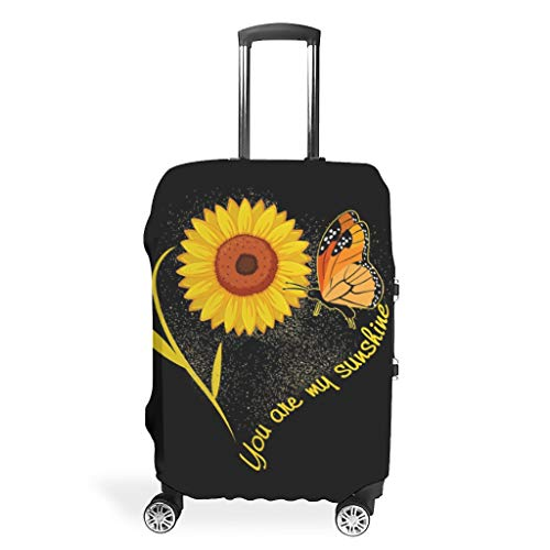 BOBONC Luggage Covers Fashion Spandex Travel Suitcase Cover Dust-Proof Anti-Thief Case You are My Sunshine Sunflower Butterfly Design White XL (76x101cm)