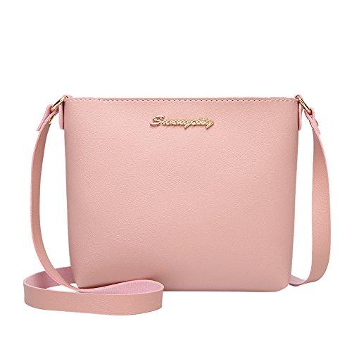 VJGOAL Damen Schultertasche, Damen Mädchen Mode Einfarbig Crossbody Reise Schulter Messenger Phone Münze Kleine Tasche (Rosa)