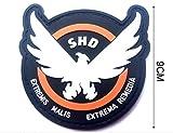 ewkft Parches de Goma para Juegos de la División SHD, Insignia Morale PVC Airsoft, Diameter:9cm(3.54')