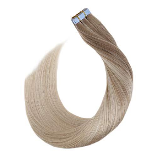 Ugeat Skin Adhesive Haarverlangerung mit Tape Extensions 20Stuck 50Gramm Remi Echthaar Seamless Tape Tressen Unsichtbar (Aschblond bis Platinblond und Hellblond #18/60/24, 35cm)